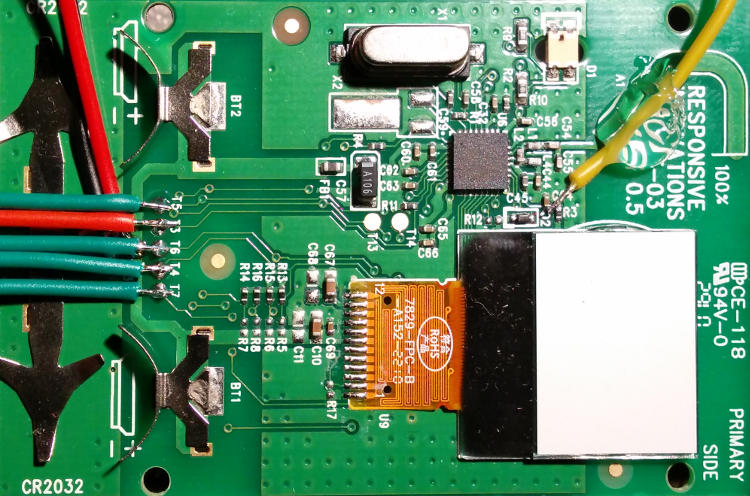 PCB with wires soldered